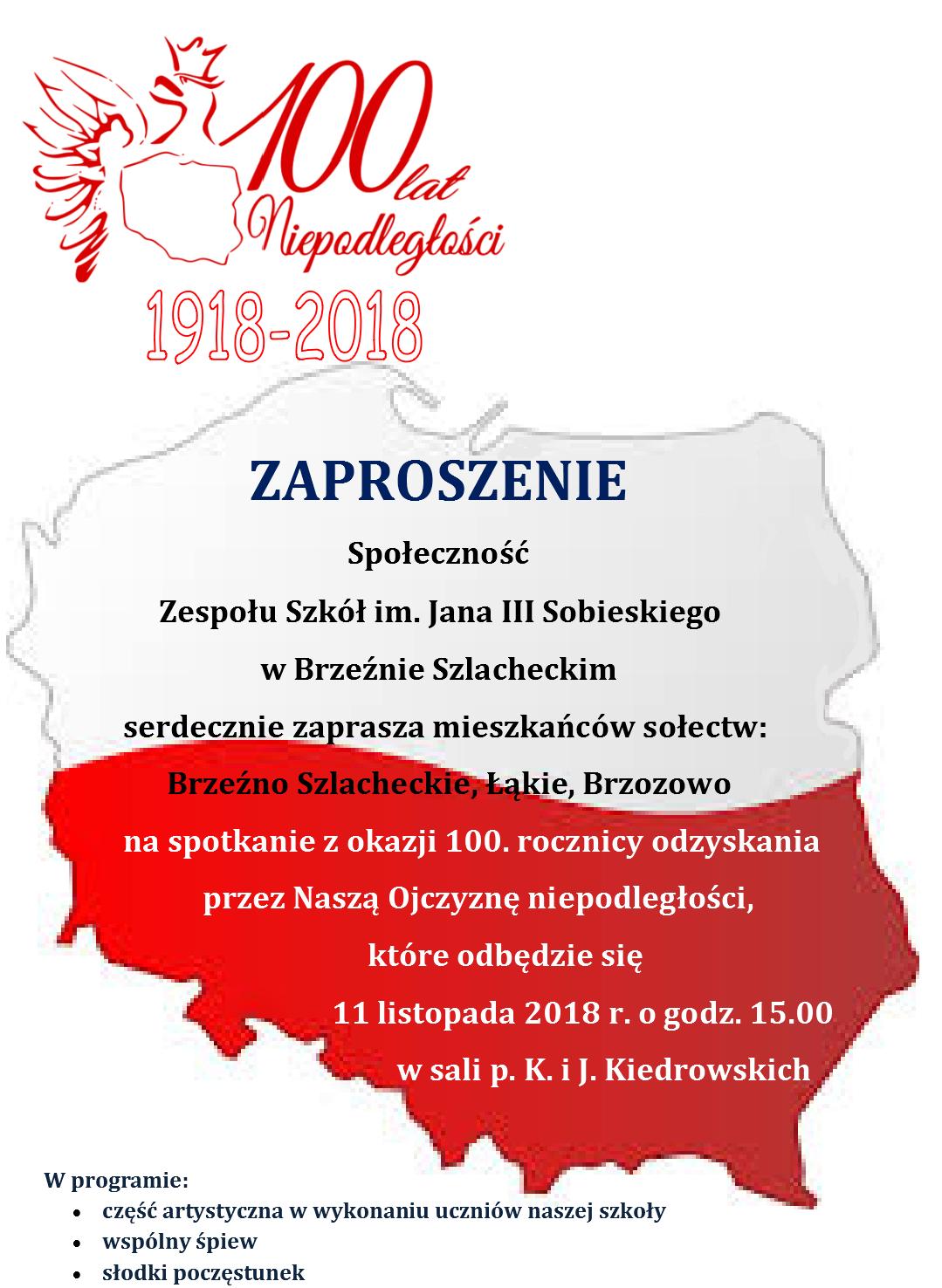 ZAPROSZENIE - 100- lecie NIEPODLEGŁOŚCI POLSKI